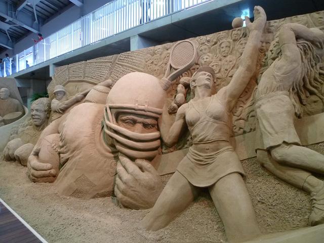 アメリカを題材として砂のオブジェ