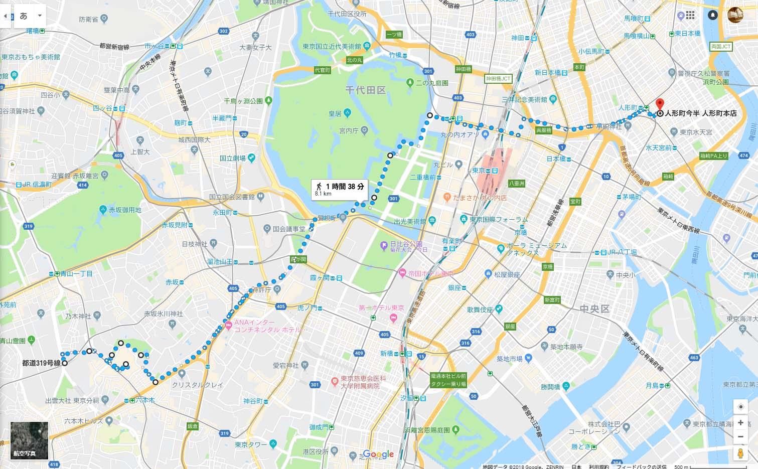 乃木坂から六本木を通り、国会議事堂前、皇居と歩き人形町まで