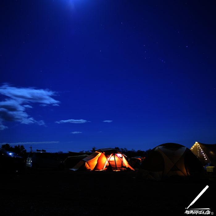 久住高原のボイボイキャンプ場での夜空。オリオン座が観えた。
