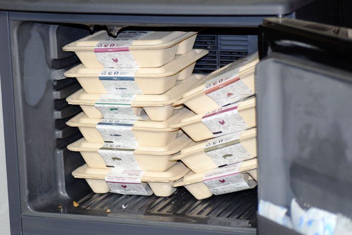 10食分のランチを小さな冷凍庫に納めるとこんな感じです。